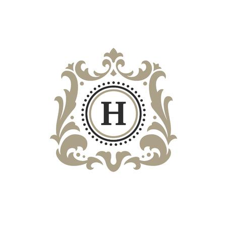 Luxe monogram logo sjabloon vector-object voor logo of badge ontwerp. Trendy vintage koninklijke illustratie van het ornamentkader, goed voor modeboutique, alcohol of hotelmerk. Stock Illustratie