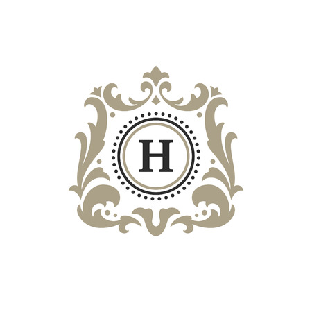 Luxury monogram logo template vector object for logotype or badge Design. Trendy vintage royal ornament frame illustration, good for fashion boutique, alcohol or hotel brand. 版權商用圖片 - 90836333