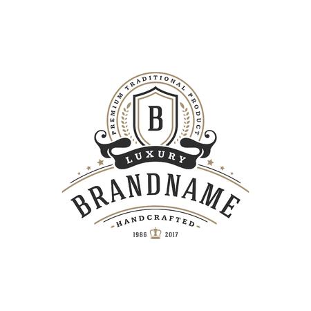 Luxury monogram logo template vector object for logotype or badge Design. Trendy vintage royal ornament frame illustration, good for fashion boutique, alcohol or hotel brand. Ilustração