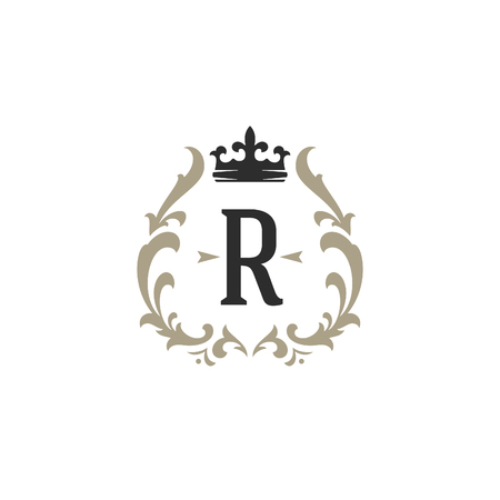 Luxury monogram icon template vector object for icontype or badge Design. Trendy vintage royal ornament frame illustration, good for fashion boutique, alcohol or hotel brand.