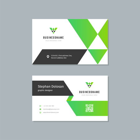 Business card design template abstract modern corporate branding style vector Illustration. Two sides with logo trendy colors background. Stock Illustratie