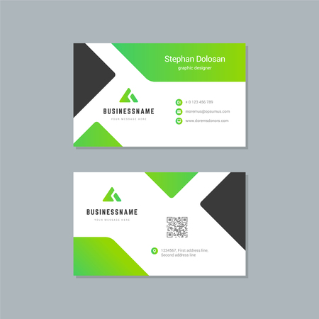 Business card design template abstract modern corporate branding style vector Illustration. Two sides with icon trendy colors background.