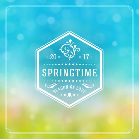 Spring Badge Vector Typographic Design Greeting Card. Spring Blurred lights Background and flowers. Eps 10. Illustration