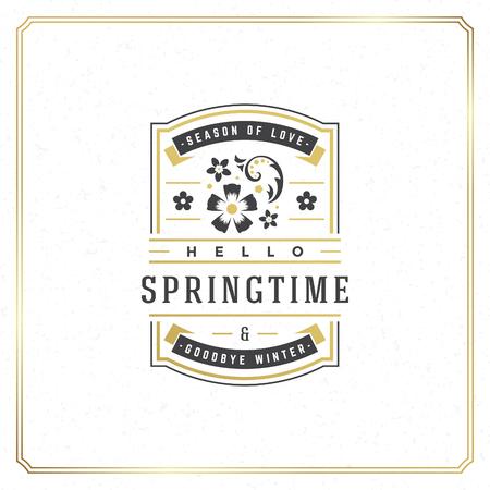 Spring Badge Vector Typographic Design Vintage Greeting Card. Golden textured Background. Eps 10.