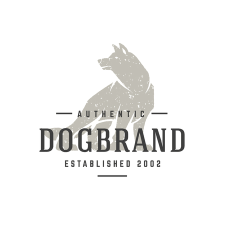 Wolf hand drawn logo isolated on white background vector illustration