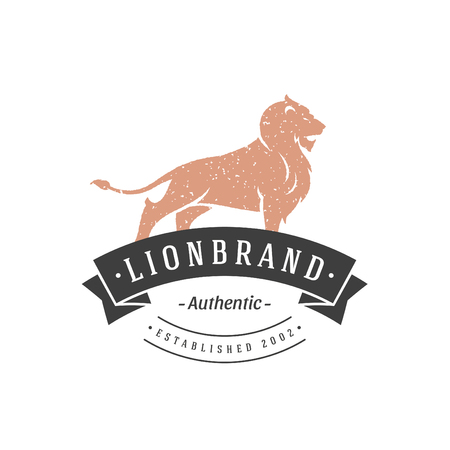 Lion hand drawn logo isolated on white background vector illustration