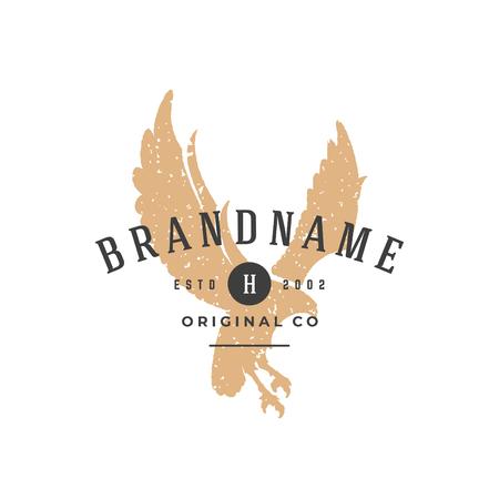Eagle hand drawn logo isolated on white background vector illustration
