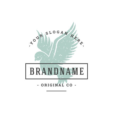 Dove hand drawn logo isolated on white background vector illustration