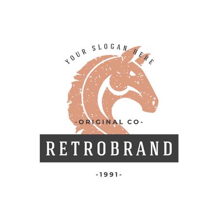 Horse hand drawn logo isolated on white background vector illustration