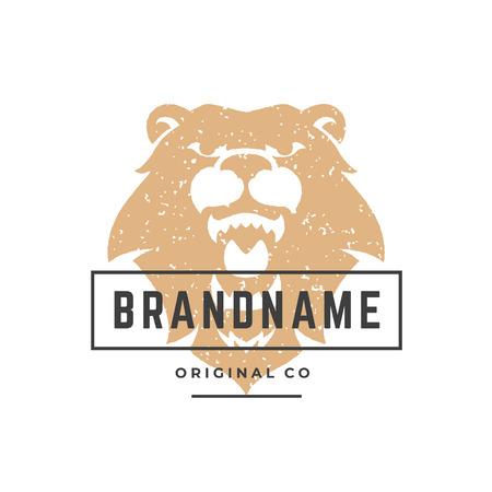 Bear hand drawn logo isolated on white background vector illustration