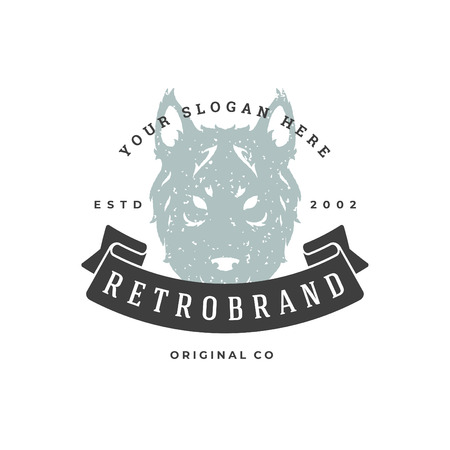 Wolf hand drawn logo isolated on white background. Vector illustration for labels, badges, t-shirt and other design. Illustration