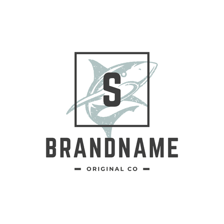 Shark hand drawn logo isolated on white background vector illustration for labels, badges, t-shirt and other design.