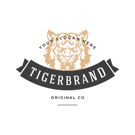 Tiger hand drawn logo isolated on white background vector illustration for labels, badges, t-shirt and other design.