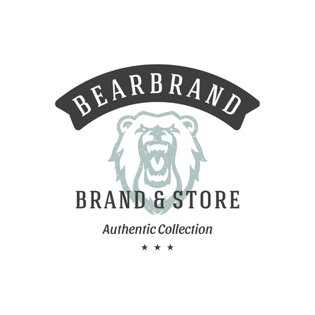 Bear hand drawn logo isolated on white background vector illustration for labels, badges, t-shirt and other design.  イラスト・ベクター素材