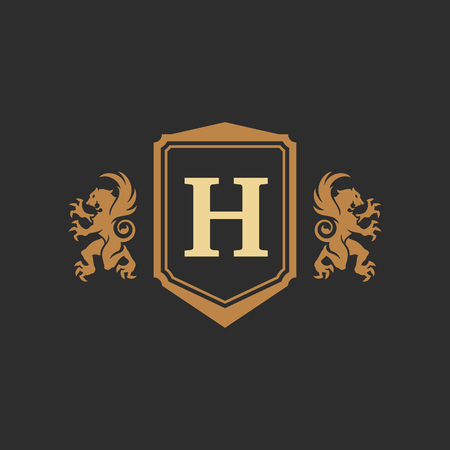 Luxury monogram logo template vector object for logotype or badge design. Trendy vintage royal ornament frame illustration, good for fashion boutique, alcohol or hotel brand. Vectores