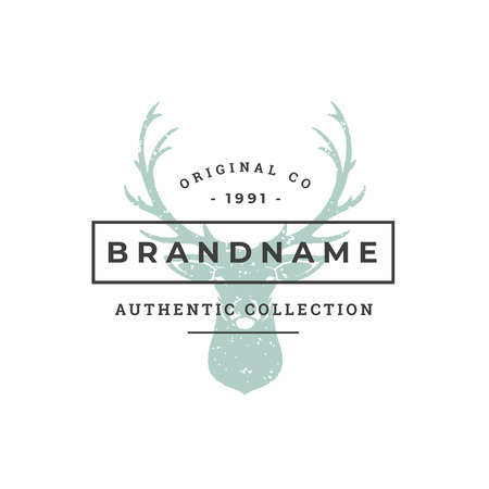 Deer hand drawn logo isolated on white background vector illustration for labels, badges, t-shirt and other design. Illustration