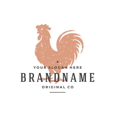 Rooster hand drawn logo isolated on white background. Vector illustration for labels, badges, t-shirt and other design.