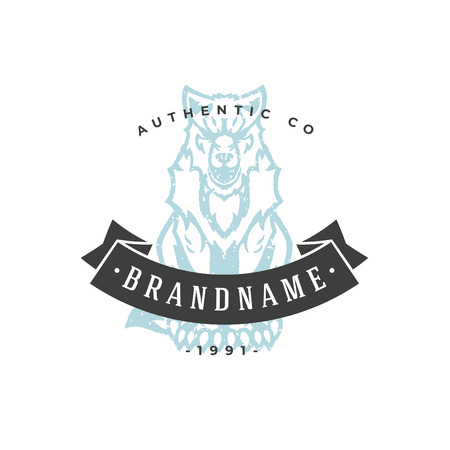 Wolf hand drawn logo isolated on white background vector illustration for labels, badges, t-shirt and other design.
