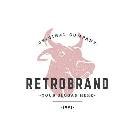 Cow hand drawn logo isolated on white background. Vector illustration for labels, badges, t-shirt and other design.
