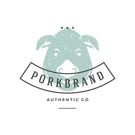 Pig hand drawn logo isolated on white background vector illustration for labels, badges, t-shirt and other design.
