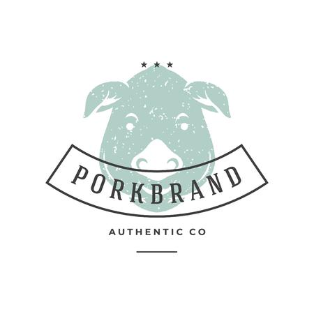 Logo disegnato a mano del maiale isolato sull'illustrazione bianca di vettore del fondo per le etichette, i distintivi, la maglietta e l'altro disegno. Archivio Fotografico - 97194299