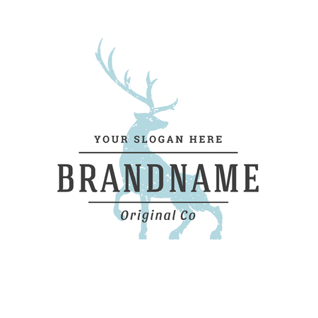 Deer hand drawn logo isolated on white background. Vector illustration for labels, badges, t-shirt and other design.
