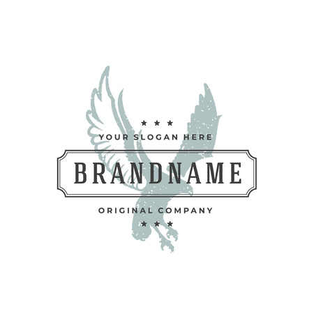 Eagle hand drawn logo isolated on white background vector illustration for labels, badges, t-shirt and other design. Illustration