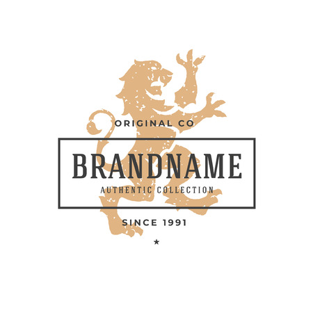 Lion hand drawn logo isolated on white background vector illustration for labels, badges, t-shirt and other design.