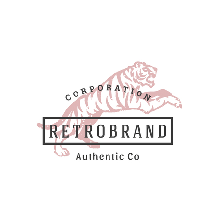 Tiger hand drawn logo isolated on white background. Vector illustration for labels, badges, t-shirt and other design.