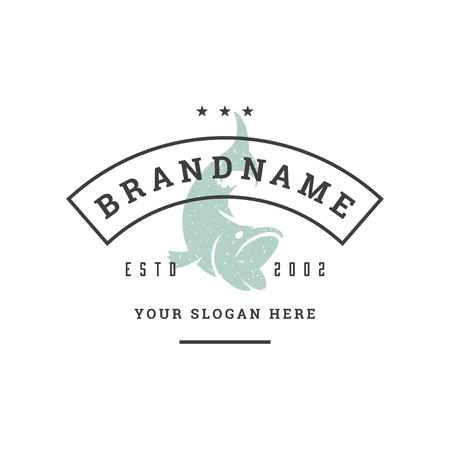 Fish hand drawn logo isolated on white background vector illustration for labels, badges, t-shirt and other design.