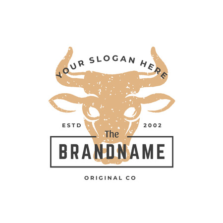 Cow hand drawn logo isolated on white background vector illustration for labels, badges, t-shirt and other design. Illustration