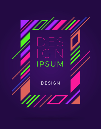 Purple cover design template with an colorful frame inside