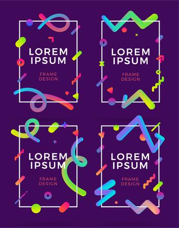 Set of frame design templates on a purple background