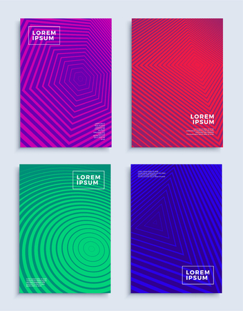 Set of colorful cover design templates on a gray background Illustration