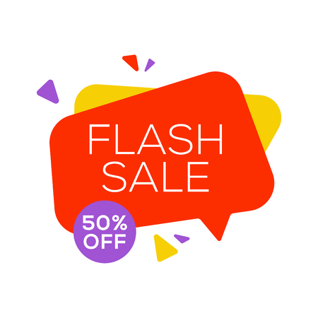 Sale banner design template flat speech bubble special offer discount vector illustration. Illustration
