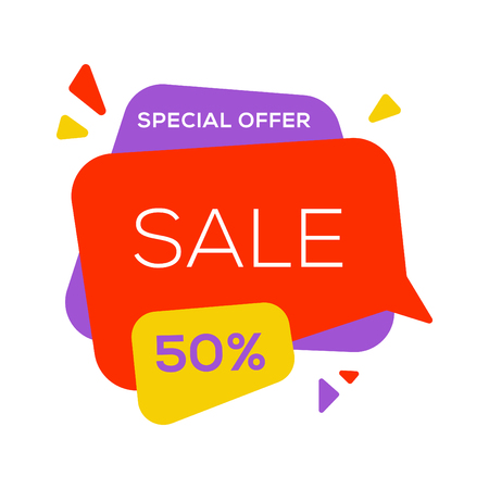 Sale banner design template flat speech bubble special offer discount vector illustration. Ilustrace