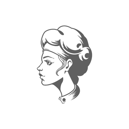 Chef Woman Face Logo Vector Illustration. Chef Silhouette Isolated On White Background. Vector object for Labels, Badges, Logos Design.