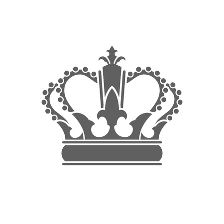 King Crown Logo Vector Illustration. Royal Crown Silhouette Isolated On White Background.