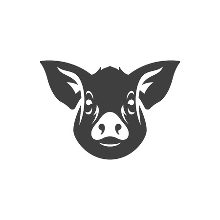 Pig head silhouette isolated on white background vector object in retro style. Can be used for logo or badge. Farm animal.  イラスト・ベクター素材