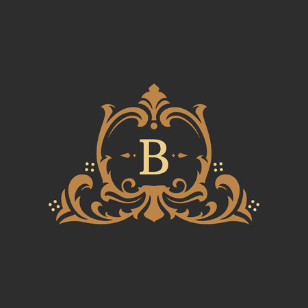 Luxury monogram logo template vector object for logotype or badge Design. Trendy vintage royal ornament frame illustration, good for fashion boutique, alcohol or hotel brand. Stock Illustratie