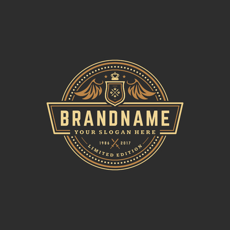 Luxury logo template vector object for logotype or badge Design. Trendy vintage royal style illustration, good for fashion boutique, alcohol or hotel brand.