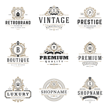 Luxury monogram logos templates vector objects set for logotype or badge Design. Trendy vintage royal ornament frames illustration, good for fashion boutique, alcohol or hotel brand.