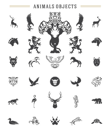 Animals silhouettes objects vector design elements set vintage style isolated on white. For logos badges and other graphic design. 일러스트