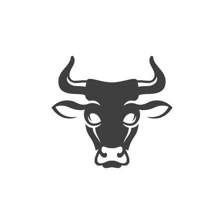 Cow head silhouette isolated on white background vector object in retro style. Can be used for logo or badge. Farm animal.