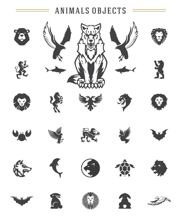 Animals silhouettes objects vector design elements set vintage style isolated on white. For logos badges and other graphic design. Illusztráció