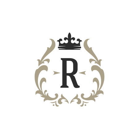 Luxury monogram logo template vector object for logotype or badge Design. Trendy vintage royal ornament frame illustration, good for fashion boutique, alcohol or hotel brand. Ilustração