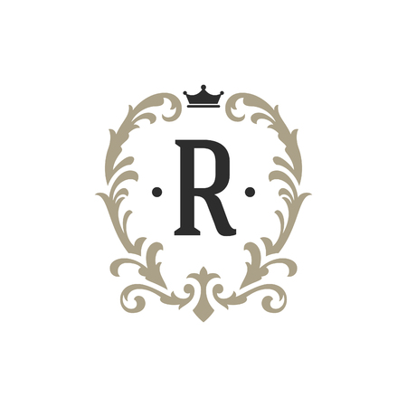 Luxury monogram logo template vector object for logotype or badge Design. Trendy vintage royal ornament frame illustration, good for fashion boutique, alcohol or hotel brand. Illustration