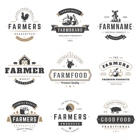 Farmers market logos templates vector objects set. Logotypes or badges design. Trendy retro style illustration, farm natural organic products food, rooster, cow head and mill silhouettes.