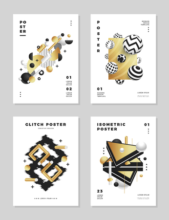 Modern abstract clean golden cover design templates set.
