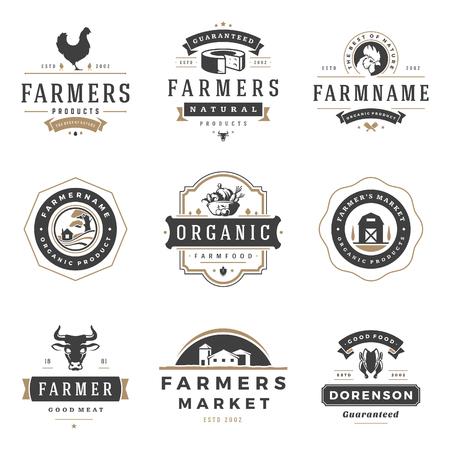 Farmers market logos templates vector objects set. Logotypes or badges design. Stock Photo